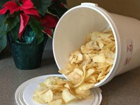 chips coming out of bucket